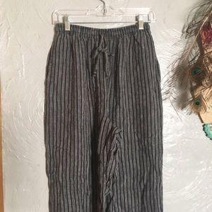 90s linen striped drawstring lightweight pants